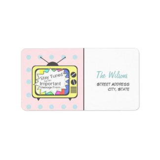 Rétro étiquette de adresse - poste TV jaune Étiquette D'adresse