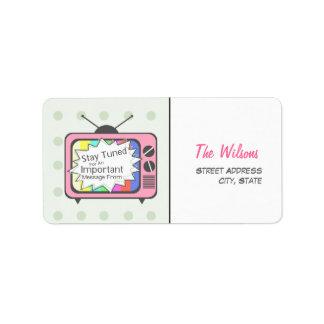 Rétro étiquette de adresse - poste TV rose Étiquette D'adresse