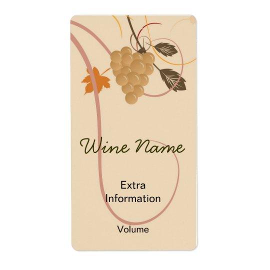 Rétro étiquette de vin de raisins avec des baisers