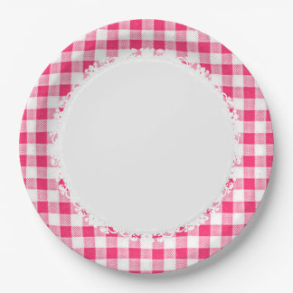 Retro-Everyday_Picnic_Pink-Check_Plaid Assiettes En Papier