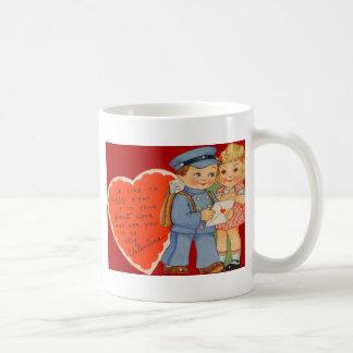 Rétro facteur vintage expédiant la carte de mug