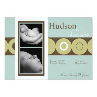 rétro faire-part de naissance de photo de cercle carton d'invitation  12,7 cm x 17,78 cm