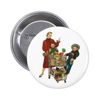 Rétro famille, maman et enfants, épicerie de chari badge