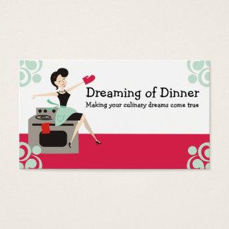 Rétro femme au foyer culinaire, chef, cartes de