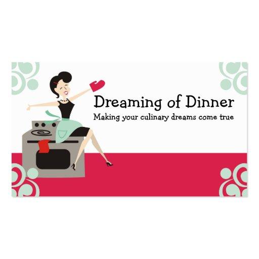 Rétro femme au foyer culinaire, chef, cartes de modèle de carte de visite