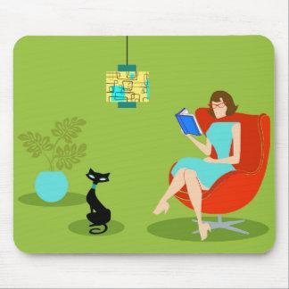 Rétro femme Mousepad de lecture Tapis De Souris