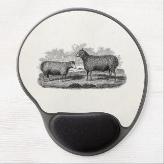 Rétro ferme de 1800s de moutons d'illustration vin tapis de souris avec gel