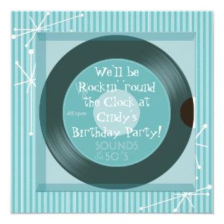 rétro fête d'anniversaire des années 1950 carton d'invitation  13,33 cm