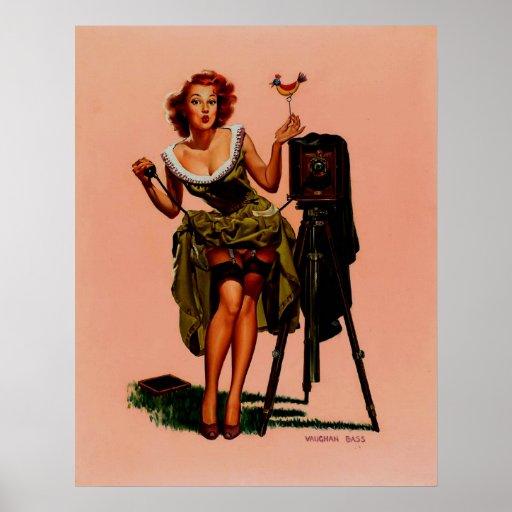 Rétro fille basse vintage de pin-up de photographe posters