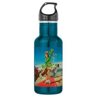 Rétro fille de pin-up d'atterrissage obligatoire bouteille d'eau