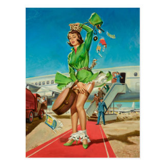 Rétro fille de pin-up d'atterrissage obligatoire cartes postales
