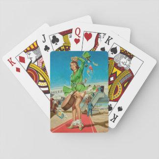 Rétro fille de pin-up d'atterrissage obligatoire jeu de cartes