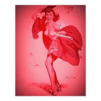 Rétro fille de pin-up rose licenciée vintage de carton d'invitation 10,79 cm x 13,97 cm