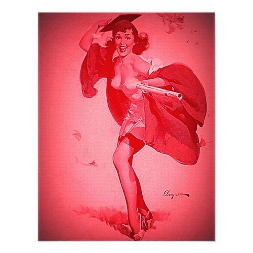 Rétro fille de pin-up rose licenciée vintage de Gi Cartons D'invitation