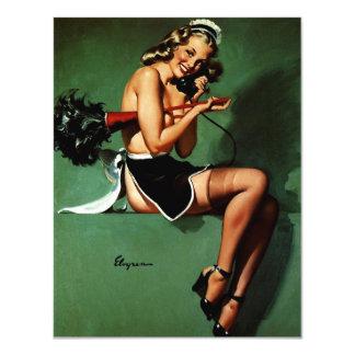 Rétro fille française vintage de pin-up de carton d'invitation 10,79 cm x 13,97 cm