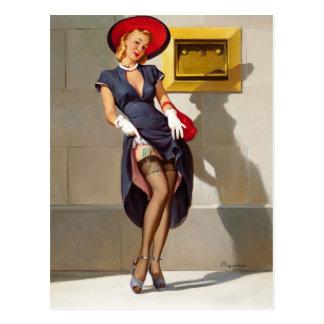 Rétro fille Pin- Carte Postale