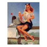 Rétro fille vintage de pin-up de boîte aux lettres carte postale