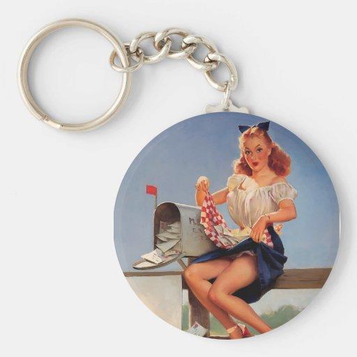 Rétro fille vintage de pin-up de boîte aux lettres porte-clés