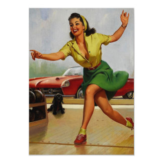Rétro fille vintage de pin-up de bowling de Gil Carton D'invitation 12,7 Cm X 17,78 Cm