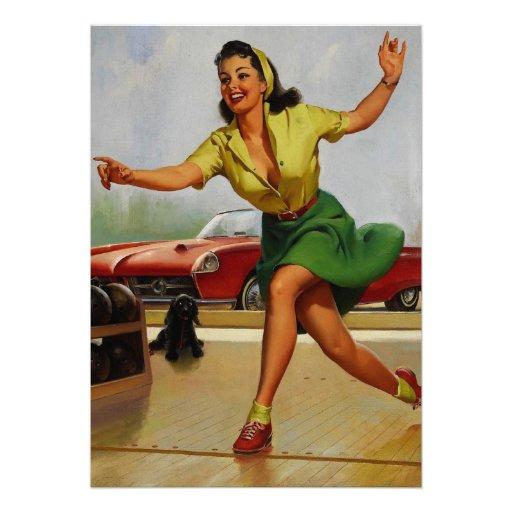 Rétro fille vintage de pin-up de bowling de Gil El Bristols