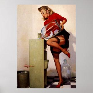 Rétro fille vintage de pin-up de bureau de Gil Elv Posters
