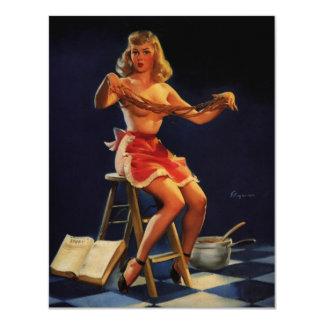 Rétro fille vintage de pin-up de fabricant de carton d'invitation 10,79 cm x 13,97 cm