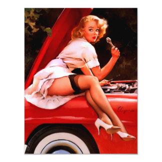 Rétro fille vintage de pin-up de mécanicien de carton d'invitation 10,79 cm x 13,97 cm