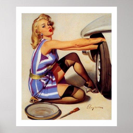 Rétro fille vintage de pin-up de mécanicien de voi posters