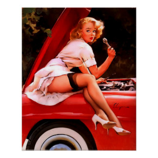 Rétro fille vintage de pin-up de mécanicien de voi poster