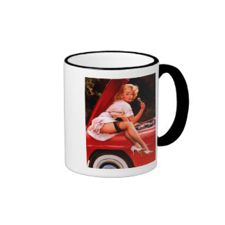 Rétro fille vintage de pin-up de mécanicien de voi mug à café