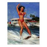 Rétro fille vintage de pin-up de ski d'eau de Gil Carte Postale