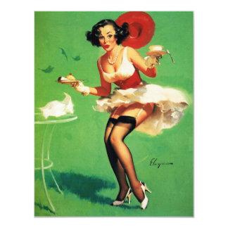 Rétro fille vintage de pin-up de temps de thé de carton d'invitation 10,79 cm x 13,97 cm