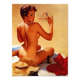 Rétro fille vintage de pin-up d'été de plage de carton d'invitation 10,79 cm x 13,97 cm