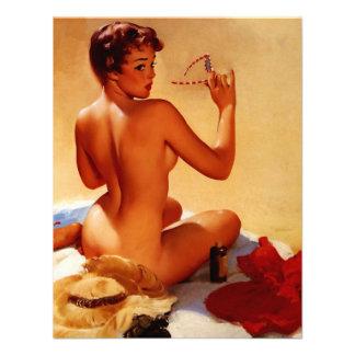 Rétro fille vintage de pin-up d'été de plage de Gi Faire-part Personnalisés