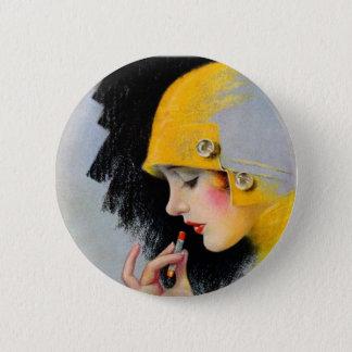 Rétro fille vintage de rouge à lèvres des femmes badge