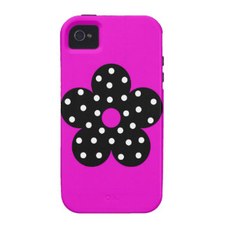 Rétro fleur noire de pois sur l'arrière - plan pou coque iPhone 4 vibe