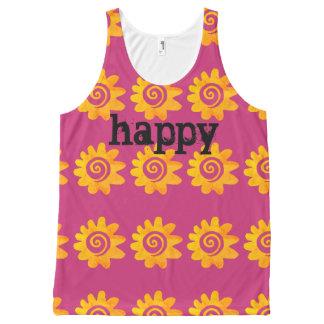 Rétro fleur orange heureuse débardeur tout-imprimé