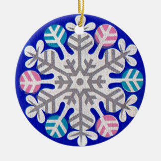Rétro flocon de neige ornement rond en céramique