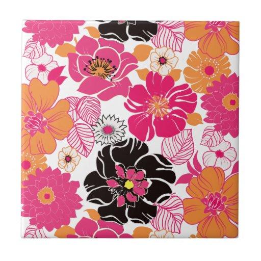 Rétro floral de PixDezines Alegre, arrière - plan  Carreau En Céramique