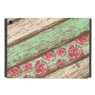 Rétro floral vintage de vieille barrière en bois p étui iPad mini