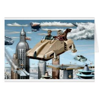 Rétro future voiture volante carte de vœux