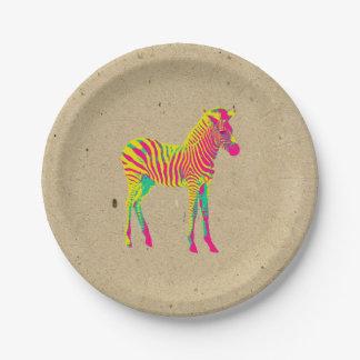 Rétro génial psychédélique animal de bébé au néon assiettes en papier