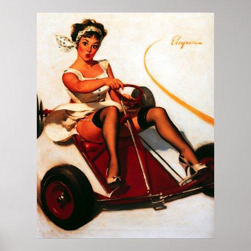 Rétro Gil vintage Elvgren vont Pin de kart vers le Posters