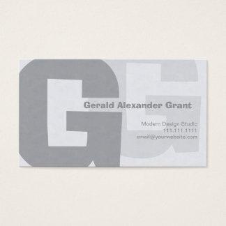 Rétro grand gris bleu élégant G Cartes De Visite