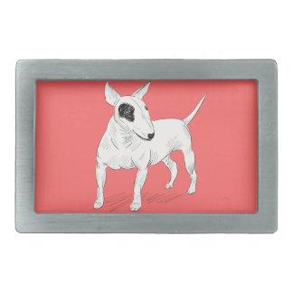 Rétro griffonnage de bull-terrier sur l'arrière - boucles de ceinture rectangulaires