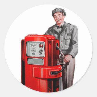 Rétro GUS vintage de station d'essence de gaz de Sticker Rond