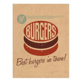 Rétro hamburger carte postale