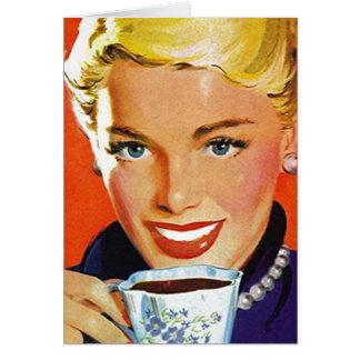 Rétro heureux dans les cartes vierges de thé de