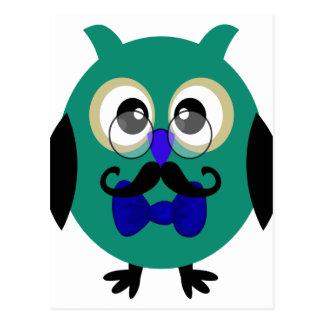 Rétro hibou avec la moustache et les verres carte postale