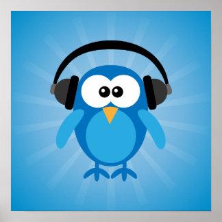 Rétro hibou bleu génial avec des écouteurs posters